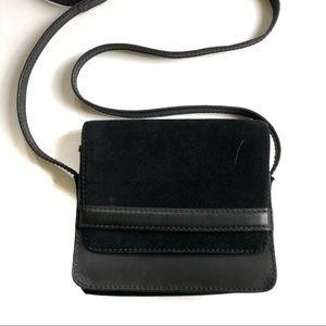 Madewell Albury Leather Suede Black Crossbody Bag